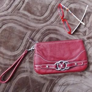 Wilson red pebble leather clutch wristlet